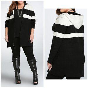 Torrid Color Block Hooded Sweater Jacket, L